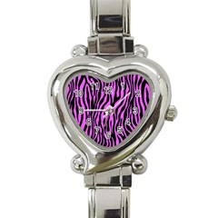 Zebra Stripes Pattern Trend Colors Black Pink Heart Italian Charm Watch by EDDArt