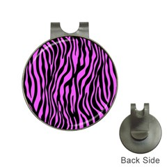 Zebra Stripes Pattern Trend Colors Black Pink Hat Clips With Golf Markers by EDDArt