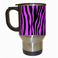 Zebra Stripes Pattern Trend Colors Black Pink Travel Mugs (white) by EDDArt