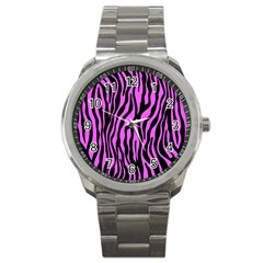 Zebra Stripes Pattern Trend Colors Black Pink Sport Metal Watch by EDDArt
