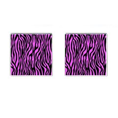 Zebra Stripes Pattern Trend Colors Black Pink Cufflinks (square) by EDDArt