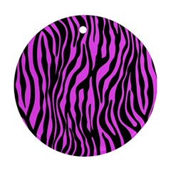 Zebra Stripes Pattern Trend Colors Black Pink Round Ornament (two Sides) by EDDArt