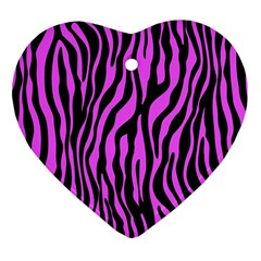 Zebra Stripes Pattern Trend Colors Black Pink Heart Ornament (two Sides) by EDDArt