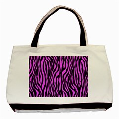 Zebra Stripes Pattern Trend Colors Black Pink Basic Tote Bag (two Sides) by EDDArt