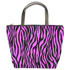 Zebra Stripes Pattern Trend Colors Black Pink Bucket Bags by EDDArt