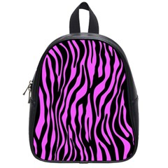 Zebra Stripes Pattern Trend Colors Black Pink School Bag (small) by EDDArt