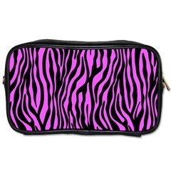 Zebra Stripes Pattern Trend Colors Black Pink Toiletries Bags by EDDArt