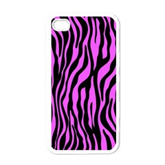 Zebra Stripes Pattern Trend Colors Black Pink Apple Iphone 4 Case (white) by EDDArt