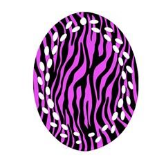 Zebra Stripes Pattern Trend Colors Black Pink Oval Filigree Ornament (two Sides) by EDDArt