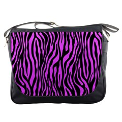 Zebra Stripes Pattern Trend Colors Black Pink Messenger Bags by EDDArt