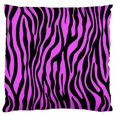 Zebra Stripes Pattern Trend Colors Black Pink Large Cushion Case (two Sides) by EDDArt