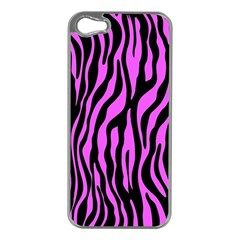 Zebra Stripes Pattern Trend Colors Black Pink Apple Iphone 5 Case (silver) by EDDArt