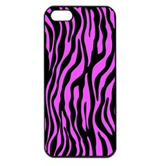 Zebra Stripes Pattern Trend Colors Black Pink Apple Iphone 5 Seamless Case (black) by EDDArt