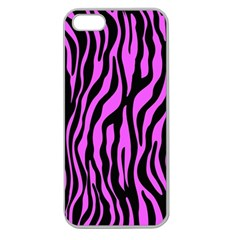 Zebra Stripes Pattern Trend Colors Black Pink Apple Seamless Iphone 5 Case (clear) by EDDArt