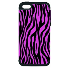Zebra Stripes Pattern Trend Colors Black Pink Apple Iphone 5 Hardshell Case (pc+silicone) by EDDArt