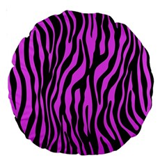 Zebra Stripes Pattern Trend Colors Black Pink Large 18  Premium Round Cushions by EDDArt