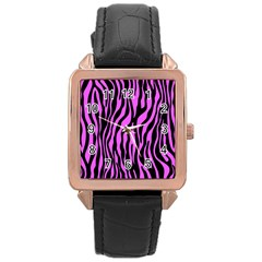 Zebra Stripes Pattern Trend Colors Black Pink Rose Gold Leather Watch  by EDDArt