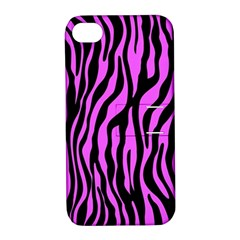 Zebra Stripes Pattern Trend Colors Black Pink Apple Iphone 4/4s Hardshell Case With Stand by EDDArt