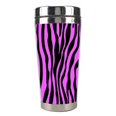 Zebra Stripes Pattern Trend Colors Black Pink Stainless Steel Travel Tumblers by EDDArt