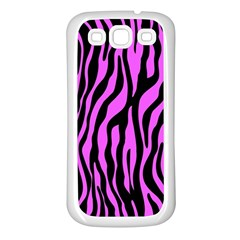 Zebra Stripes Pattern Trend Colors Black Pink Samsung Galaxy S3 Back Case (white) by EDDArt