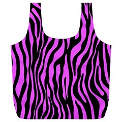 Zebra Stripes Pattern Trend Colors Black Pink Full Print Recycle Bags (l)  by EDDArt