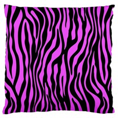 Zebra Stripes Pattern Trend Colors Black Pink Large Flano Cushion Case (one Side) by EDDArt