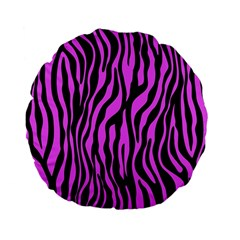 Zebra Stripes Pattern Trend Colors Black Pink Standard 15  Premium Flano Round Cushions by EDDArt