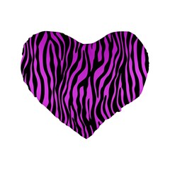 Zebra Stripes Pattern Trend Colors Black Pink Standard 16  Premium Flano Heart Shape Cushions