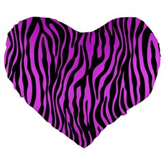 Zebra Stripes Pattern Trend Colors Black Pink Large 19  Premium Flano Heart Shape Cushions by EDDArt