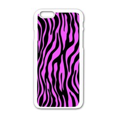 Zebra Stripes Pattern Trend Colors Black Pink Apple Iphone 6/6s White Enamel Case by EDDArt
