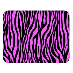 Zebra Stripes Pattern Trend Colors Black Pink Double Sided Flano Blanket (large)  by EDDArt