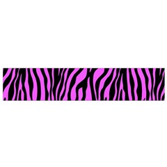 Zebra Stripes Pattern Trend Colors Black Pink Small Flano Scarf by EDDArt