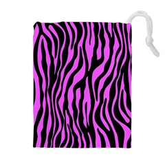 Zebra Stripes Pattern Trend Colors Black Pink Drawstring Pouches (extra Large) by EDDArt