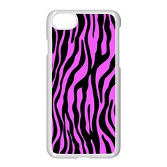 Zebra Stripes Pattern Trend Colors Black Pink Apple Iphone 7 Seamless Case (white) by EDDArt