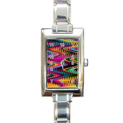 Multicolored Wave Distortion Zigzag Chevrons Rectangle Italian Charm Watch by EDDArt