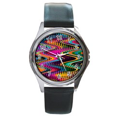 Multicolored Wave Distortion Zigzag Chevrons Round Metal Watch by EDDArt