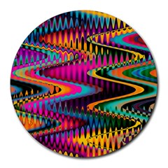 Multicolored Wave Distortion Zigzag Chevrons Round Mousepads by EDDArt