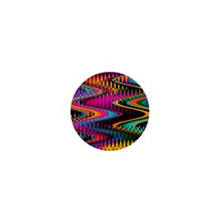 Multicolored Wave Distortion Zigzag Chevrons 1  Mini Buttons by EDDArt