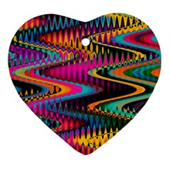 Multicolored Wave Distortion Zigzag Chevrons Ornament (heart) by EDDArt