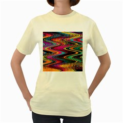 Multicolored Wave Distortion Zigzag Chevrons Women s Yellow T-shirt by EDDArt