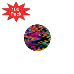 Multicolored Wave Distortion Zigzag Chevrons 1  Mini Magnets (100 Pack)  by EDDArt