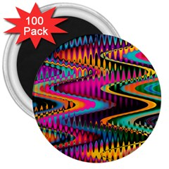 Multicolored Wave Distortion Zigzag Chevrons 3  Magnets (100 Pack) by EDDArt