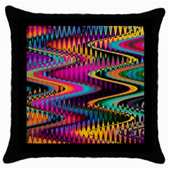 Multicolored Wave Distortion Zigzag Chevrons Throw Pillow Case (black) by EDDArt