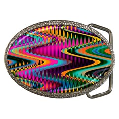 Multicolored Wave Distortion Zigzag Chevrons Belt Buckles by EDDArt