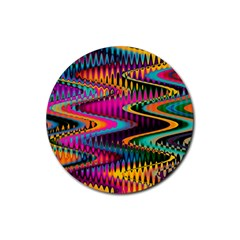 Multicolored Wave Distortion Zigzag Chevrons Rubber Coaster (round)  by EDDArt