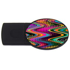 Multicolored Wave Distortion Zigzag Chevrons Usb Flash Drive Oval (2 Gb) by EDDArt