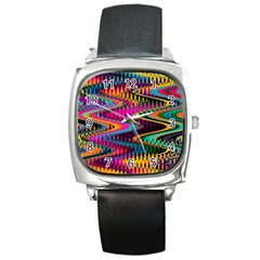 Multicolored Wave Distortion Zigzag Chevrons Square Metal Watch by EDDArt
