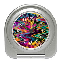Multicolored Wave Distortion Zigzag Chevrons Travel Alarm Clock by EDDArt