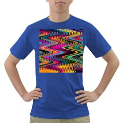 Multicolored Wave Distortion Zigzag Chevrons Dark T Shirt by EDDArt