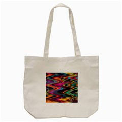 Multicolored Wave Distortion Zigzag Chevrons Tote Bag (cream) by EDDArt